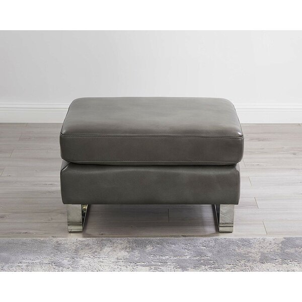 Walbourne 100% Leather Ottoman By Orren Ellis